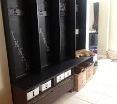 Besta TV Bench turned Mudroom Storage