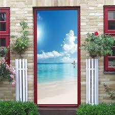 3d tür aufkleber natur strand wandbild tapete für türen home dekoration abnehmbare wasserdichte decals poster wohnzimmer schlafzimmer