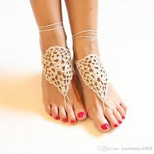 Feet Thongs Foot Decoration Belly Dance Shoes Yoga Barefoot Beige Barefoots Bridal Beach Crochet Victorian Lace Sandals For Women