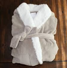 New Pottery Barn Cozy Sherpa Robe Men s And Women s Sand