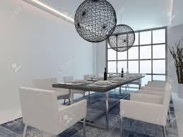schönes esszimmer innenraum mit esstisch und moderne fenster