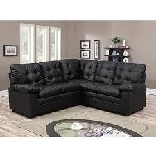 buchannan faux leather corner sectional sofa black walmart com