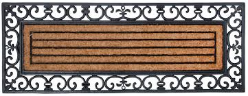 paillasson grandes portes en caoutchouc et coco 120x45x1 5cm