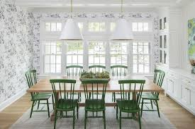 Blond Wood Table With Emerald Green Windsor Dining Chairs