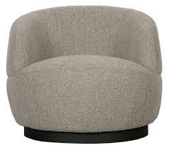 runder sessel wooly mit bouclé stoff grau drehbar sessel