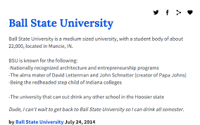 Ball State University As Told By Urban Dictionary