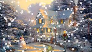 Thomas Kinkade Christmas Tree by Snow Animated Live Wallpaper Android Apps On Google Play