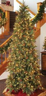 Foot Artificial Tree Green River Spruce Slim Height Frosted Pre Lit Christmas Trees