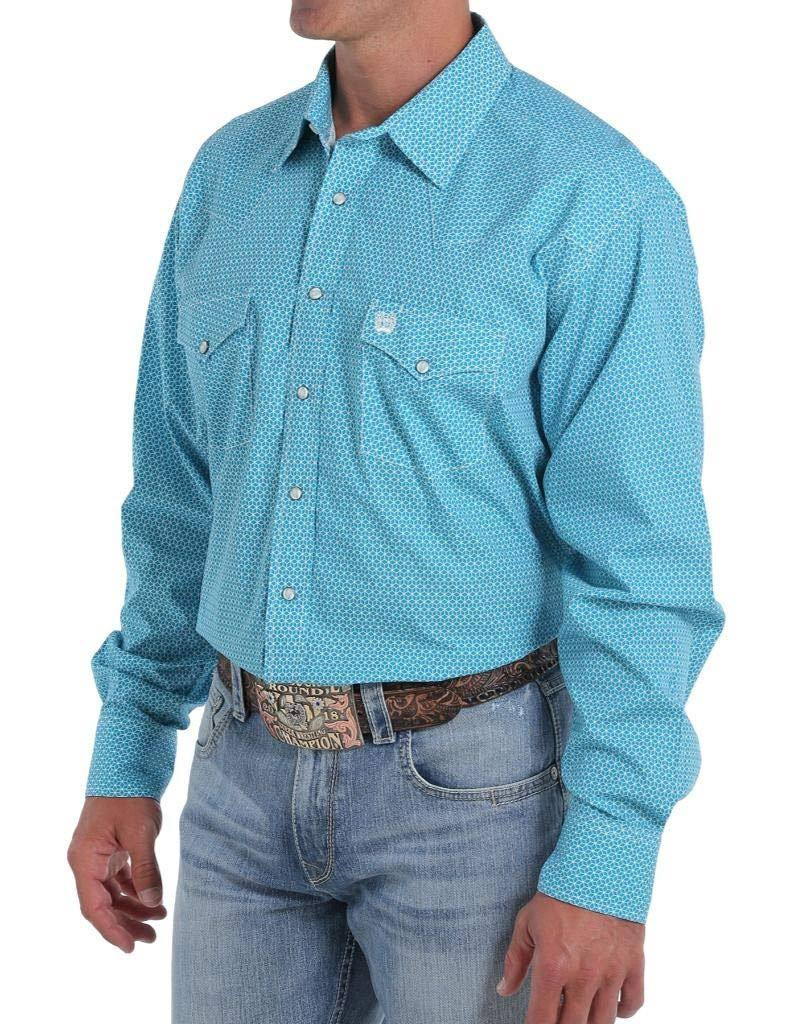 Cinch Western Shirt Mens L/S Snap Geometric Print MTW1682011 Teal