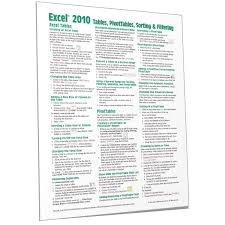 Excel 2010 Tables PivotTables Filters Quick Reference Card Beezix
