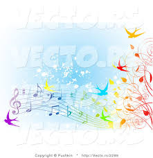 Vector Of Colorfule Spring Time Swallows Vines And Music Notes Over Blue Grunge Background High Resolution