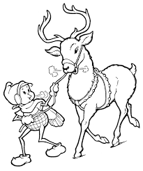 Christmas Line Art Elf With Reindeer