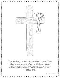 Crucifixion Coloring Page Craft Or Poster Bible Verse Easter Cross And Nails