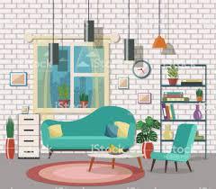 wohnzimmer einrichtung mit möbeln stock vektor und mehr bilder architektur
