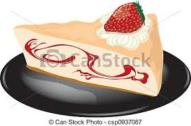 Strawberry Cheesecake A Plate Stock Illustration