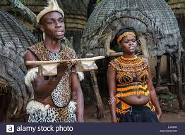 Johannesburg South Africa African Lesedi Lodge Cultural Village Zulu Tribe Black Man Woman Native Regalia Traditional Dress Clothing Tribal