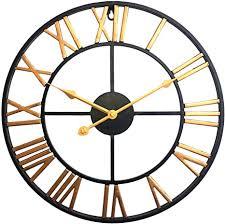 lvpy wanduhr im antik look aus metall durchmesser 40 cm wanduhr lautlos für wohnzimmer küche büro und schlafzimmer gold
