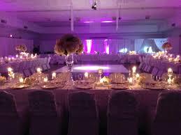 Elegant Wedding Reception Purple Uplighting Lavish Tall Centerpiece White