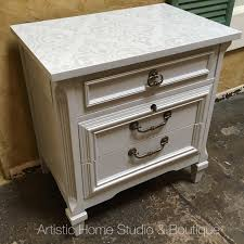 Ethan Allen Dry Sink With Copper Insert by Light Gray Nightstand With Iridescent White Stencil And Highlights