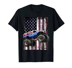 Amazon.com: Monster Truck American Flag Racing USA Patriotic T-Shirt ...
