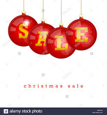 Christmas Sale Discount Template Hanging Red Tree Balls With Letters SALE Isolated On A White Background