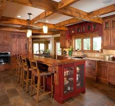 Rustic Red Kitchen Cabinets Log Home Ideas