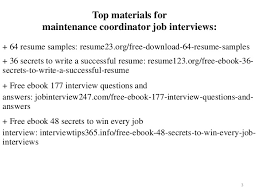 2 3 Top Materials For Maintenance Coordinator Job Interviews 64 Resume Samples
