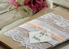 Rustic Wedding Invitation Suite Printed Set Lace Peach Elegant Assembled