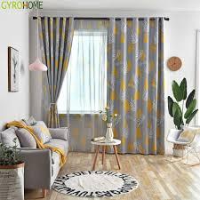 Vorhã Nge Wohnzimmer Tipps Gyc2418 Nordic Vorhänge Wohnzimmer Schlafzimmer Blätter Blau Gelb Grau Blackout Vorhang Fenster Treatement Drapieren Shades