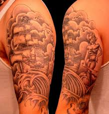 Grey Ink Pirate Ship Japanese Tattoos On Half Sleeves