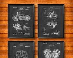 SET Of 4 Harley Davidson Motorcycle Vintage Art Patent Illustration Print Poster Wall