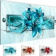 wandbild modern wohnzimmer blumen lilien türkis schlafzimmer deko bilder
