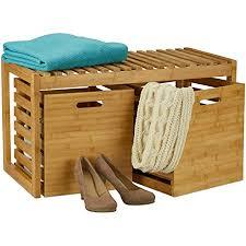 relaxdays sitzbank mit stauraum bambus 2 aufbewahrungsboxen bank für flur bad garderobe hbt 44 5x80x40 cm natur
