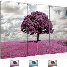 wandbild modern wohnzimmer landschaft baum lila grau