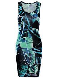 tropical leaf printed mini sheath tank dress in green l