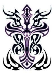Black Purple Tribal Cross Temporary Body Art Tattoos X