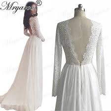 Mryarce Classic Lace Long Sleeve Open Back Wedding Dresses V Neck Chiffon A Line Rustic Dress Bridal Gowns In From Weddings