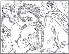 Jeremiah From The Sistine Chapel Painting By Michelangelo Bounarroti Printable Coloring Book Page