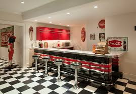 View In Gallery Nostalgic 50s Diner Look For The Bar Area With Vintage Coca Cola Decor And Ads