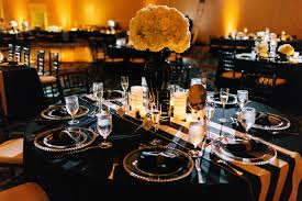 Black Chiavari Chairs Reception Gold Beaded Glass Chargers