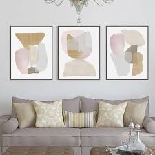 neutral abstract set of 3 prints shapes beige poster