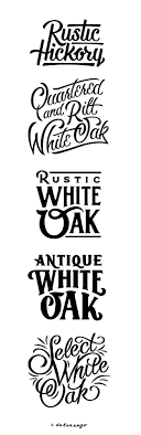 Rustic Hickory Rusting Hand Lettering Examples Antique White Oak