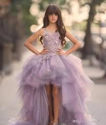 stylish lavender high low tulle girls pageant dresses lace