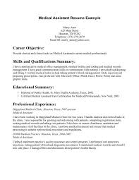 Career Objective With Medical Assistant Resume Example And Educational Summary As Diploma Of Public Health Small Medium