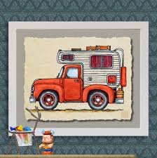 100 Pickup Truck Camper Art Print Cute Whimsical Slide In And Happy Camper Prints Add Fun To RV Trailer Or Cabin As 8x10 13x19 Wall Decor