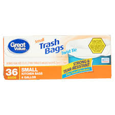 Christmas Tree Trash Bags Walmart by Great Value Twist Tie Small Kitchen Bags 4 Gallon 36 Ct