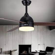 Ceiling Fan Black White Leaf Lights 48 Inch Dining Room Lamp Remote Control LED Mail Package FS15