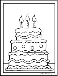 Pretentious Cake Color Page Tiered Birthday Cake Coloring Pages With 3 Candles