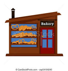 Bakery Shop Booth Facade Building Bread Vendor Store Vector Flat Design Isolated Icon
