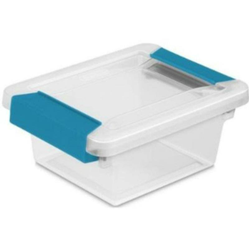 Sterilite 19698606 Mini Clip Box - Clear with Blue Aquarium Latches, 6pk